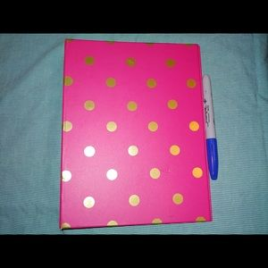 Other - Pink 3 Ring Mini Binder with Gold Polkadots